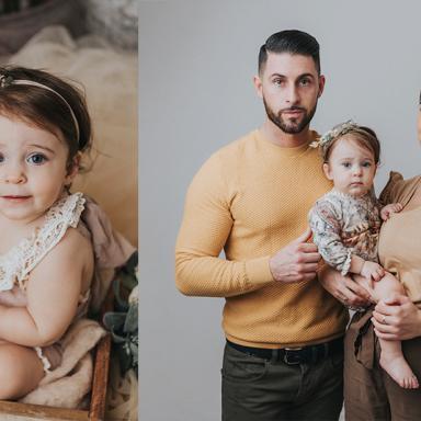 Séance de photo de famille en studio